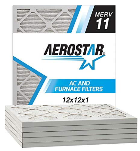 Aerostar Allergen and Pet Dander 12x12x1 MERV 11 Pleated Air Filter Made in the USA Actual Size 11 3/4'x11 3/4'x3/4' 6 Pack