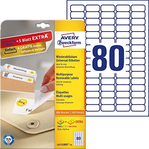 AVERY Zweckform L4732REV-25 Universal-Etiketten (35,6 x 16,9mm auf DIN A4, wieder rückstandsfrei ablösbar, bedruckbar, selbstklebend, 2000 Klebeetiketten plus 400 Klebeetiketten extra, 30 Blatt) weiß