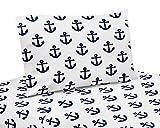 Sweet Jojo Designs Navy Blue White Anchors Queen Sheet Set - 4 Piece Set - Nautical Theme Ocean Sailboat Sea Marine Sailor Anchor Unisex Gender Neutral