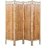 vidaXL Biombo de 4 Paneles de Bambú Marrón...