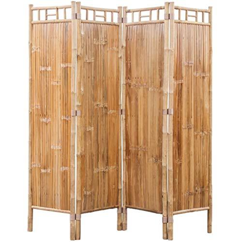 vidaXL Divisore Stanza in 4 Pannelli di Bambù Paravento Separatore Interno