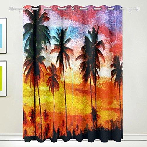 Rideau de fenêtre, Luxe 2 panneaux Peinture à l'huile Tropical Palm Print Isolation thermique épais Super Doux Tissu de polyester Décoration de maison avec oeillet pour chambre à coucher Sal