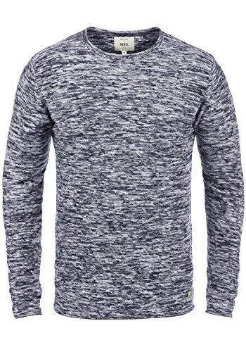 Redefined Rebel Millard Herren Strickpullover Feinstrick Pullover mit Rundhalsausschnitt, Größe:XXL, Farbe:Navy w. Offwhite