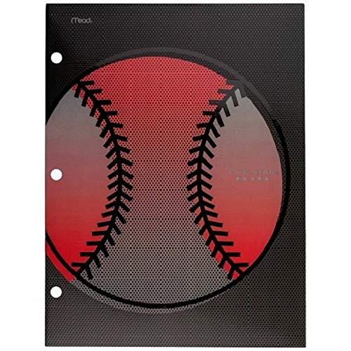 Sports Five Star 4 Pocket Paper Portfolio Folders (33161AZ9) - Basketball, Baseball, Football and Soccer (Baseball)