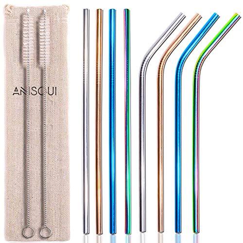 AniSqui Cannucce Acciaio Colorate 8 Pezzi Cannucce-215mm Cannuccia Riutilizzabile Acciaio Inox con 2 Spazzola di Pulizia, Cannuccia Metallo