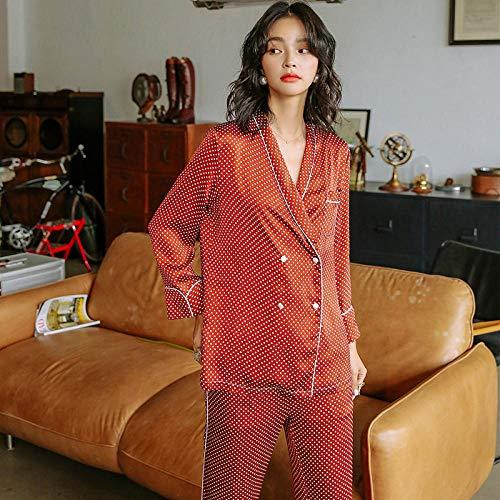 LSJSN Schlafanzug Frühling Herbst Langarm Damen Zweiteiler Retro Impression Point Loose Home Kleidung Sexy Nachtwäsche Satin-Red_dot_XL