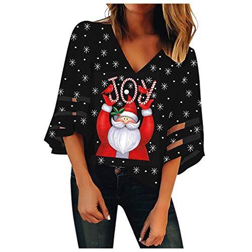 Auiyut Damen Elegant Bluse 3/4 Ärmel V-Ausschnitt Weihnachten Shirt Merry Christmas Briefs Oberteil Druck Slim Fit T-Shirt Glockenärmel Spitze Tunika Lässige Top