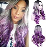 aSulis Long Wavy Full Wigs Ombre Black Grey Purple Wig Mix Three Tones Dyeing Color Synthetic Hair Anime Costume Cosplay Wig for Women Ladies Girls (Purple)