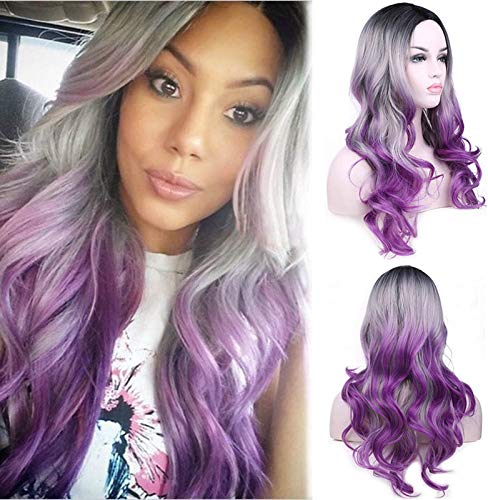 aSulis Long Wavy Full Wigs Ombre Black Grey Purple Mix Three Tones Dyeing Color Synthetic Hair Anime Costume Cosplay Wig for Women Ladies Girls (Purple)