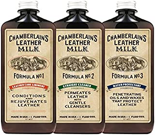 Leather Milk Leather Restoration Kit. Leather Cleaner, Conditioner, and Water Protector - No. 1-3 Leather Care Kit - All Natural, Non-Toxic. 2 Sizes. Made in The USA. Includes 3 Restoration Pads!