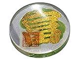 "KIN-HEBI Real Four Leaf Clover Good Luck Pocket Token, Preserved, 1.25"" (Including Cutout Japanese Kanji Character ""TOMI"")"
