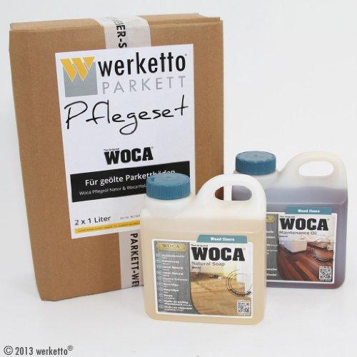 werketto Pflegeset - Woca Pflegeöl Natur + Holzbodenseife Natur - 2x 1 Liter
