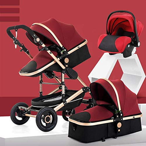 Buy Bargain Cozy 3 in1 Baby Stroller Carriage Compact Pram Stroller (Color : Brown) (Color : Red)