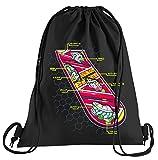 Tshirt People Hoverboard Skateboard Sacca sportiva – Borsa stampata – Una bella borsa sportiva con cordoncini Futuro Flux Delorean DMC, Unisex - Adulto, Nero , Taglia unica