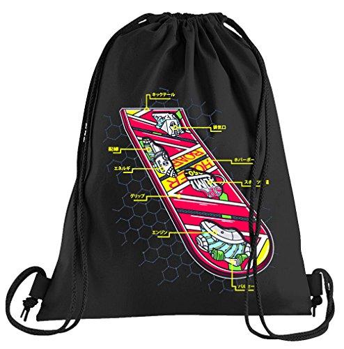 T-Shirt People Hoverboard Skateboard Sportbeutel – bedruckter Beutel – eine schöne Sport-Tasche Beutel mit Kordeln Zukunft Flux Delorean DMC