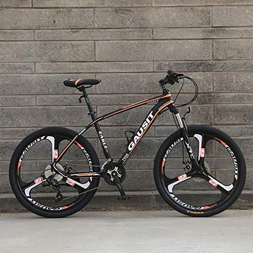 WSJ - Bicicleta de aleación de aluminio de 26 pulgadas, 30 velocidades de velocidad variable, para todo terreno, amortiguador de bicicleta de montaña con tres cuchillos, color naranja