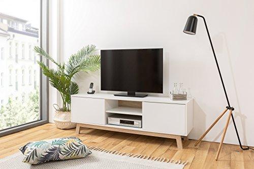 Inter Trade TV Board skandinavisch | Lowboard mit Kabeldurchlass | Breite 150 cm - bis 68 Zoll | inkl. Wandmontagematerial