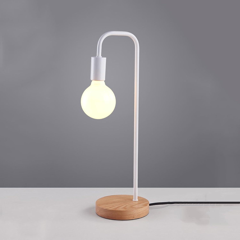 Pointhx Nordic Postmodern Einfache Metall Tischlampe Einzigen Kopf E27 Holz Schreibtisch Lichter Studenten Schlafsaal Lesen Schreibtischlampe Desktop Schlafzimmer Nachttischlampe (Farbe   Weiß)