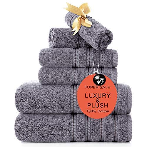 Zole Luxury 700 GSM Turkish Towel Sets 6 Piece Plush Bath Towel Sets for Bathroom & Kichen Hotel & Spa Quality Highly Absorbent Grey