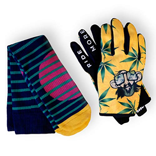 RideMore Freestyle Cycling Gloves for Men and Women, for BMX, Scooter, MTB and Cyclists, High-Quality Slip-On Gloves with Strong Grip and Touchscreen (L, Giftbox - Boomer)