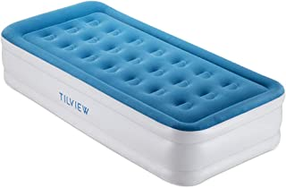 TILVIEW Twin Size Air Mattress Raised Air Bed Blow Up Elevated Inflatable Airbed with Built-in Electric Pump, Storage Bag and Repair Patches Included, Dark Blue, Upgrade Version, 2-Year Guarantee