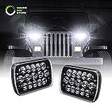 xj jeep headlight conversion - 7x6 5x7 LED Headlights H6054 H5054 [Black Finish] [45W] [H4 Plug & Play] [Low/High Beam: 6/15 LEDs] - H6054LL 69822 6052 6053 Head Light for Jeep Wrangler YJ Cherokee XJ