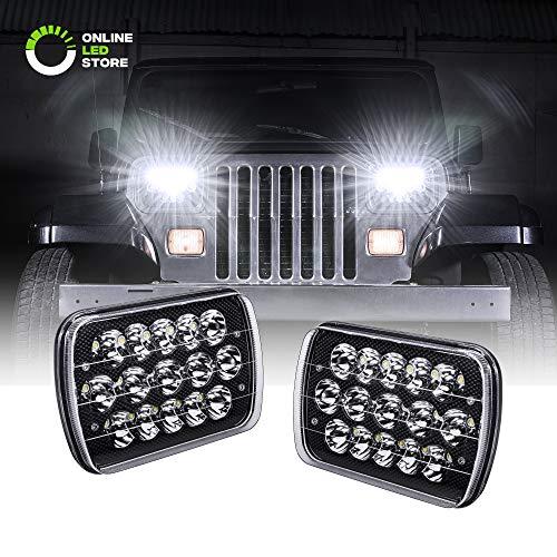 7x6 5x7 LED Headlights H6054 H5054 [Black Finish] [45W] [H4 Plug & Play] [Low/High Beam: 6/15 LEDs] - H6054LL 69822 6052 6053 Head Light for Jeep Wrangler YJ Cherokee XJ