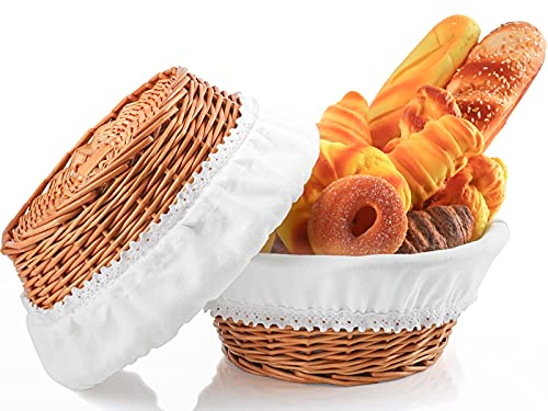 Hihotiner Unique Large Bread Basket, Premium 12 inch Round Bread Baskets for Serving, with Liner and Cloth Cover, Natural Wicker Bread Serving Basket for Table, Kitchen Counter