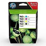 HP 963XL 3YP35AE, Pack de 4, Cartuchos de Tinta Originales de alto rendimiento, negro y tricolor, compatible con impresoras de inyección de tinta HP OfficeJet Pro Series 9010, 9020