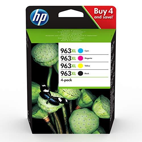 HP 963XL 3YP35AE, Negro, Cian, Magenta y Amarillo, Cartuchos de Tinta de Alta Capacidad Originales, Pack de 4, compatible con impresoras de inyección de tinta HP OfficeJet Pro Series 9010 y 9020