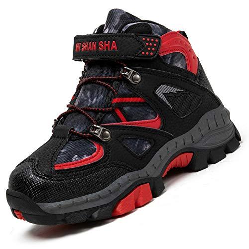 Mishansha Niños Zapatillas Montaña Antideslizante Zapatos de Senderismo Forro Cálido Calzado Deportivo Warm Boots Botas para Niño Nieve Impermeable, Rojo 36