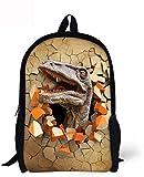 Mochila Escolar,Carry Everyday Bookbag Laptop Computer Bag Mochilas de Viaje para Adultos Lavable Unisex Dinosaurio 3D Impreso para niños de 9-14 años para la Escuela Negocios Camping Correr Ciclism