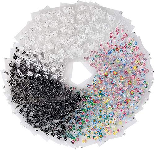3D Nagelkunst Aufkleber 50Pcs, Echte Getrocknete Blumen Nagelkunst Aufkleber,Nagelkunst Aufkleber Maniküre DIY Design ,Zubehör für Nägel Dekoration