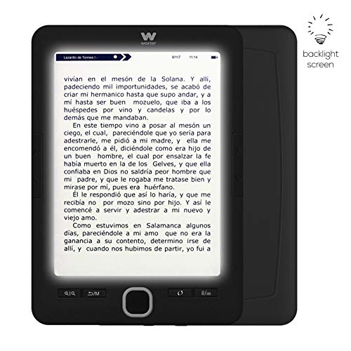 Woxter Scriba 195 Paperlight Black - Lector de libros electrónicos de 6', 1024 x 758, E-Ink Pearl, pantalla RETROILUMINADA, EPUB, PDF, micro SD, guarda más de 4000 libros, textura engomada, Negro