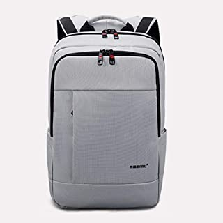 Anti-Theft School Backpack Laptop Bag Men and Women Backpack Student Travel Backpack 17-inch Trend Backpack GHMOZ (Color : Silver)