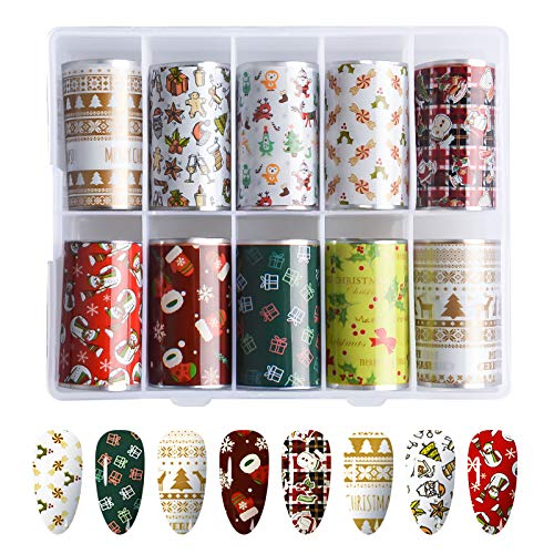 10 Rotoli Nail Foil Transfer Stickers Natale, EBANKU Nail Art Foil Sticker Unghie Trasferimento Adesivo Nail Stickers Decorazione DIY Arte Unghie per Nail Art Decalcomanie (Christmas D)