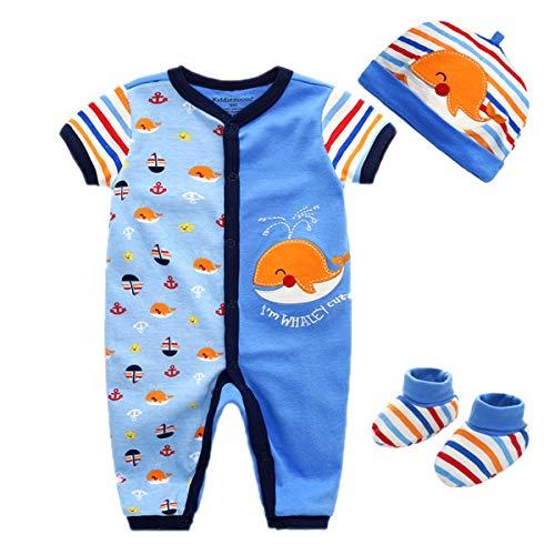 Kiddiezoom Baby Mädchen Preemie Layette 3-teiliges Geschenkset - Neugeborene Baby Jungen Mädchen Kleidung Gr. 68, Blauwal