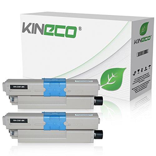 2 Toner kompatibel zu Oki 44973536 C301 C321 DN MC-332 DN 340 Series 342 DN DNW - Schwarz je 2.200 Seiten