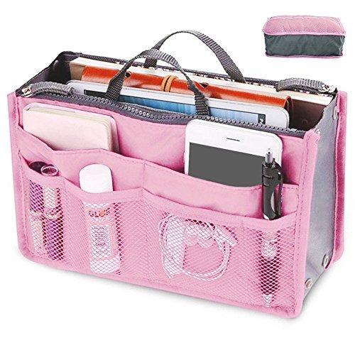 Handtaschenordner große Handtasche Organizer Tasche Kosmetiktasche für Reise 17x9x9cm (Pink)