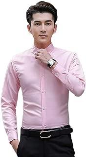 Qiyun Autumn Shirt Men Formal Shirt Long Sleeve Solid Color Slim Classic Lapel Career Casual Tops
