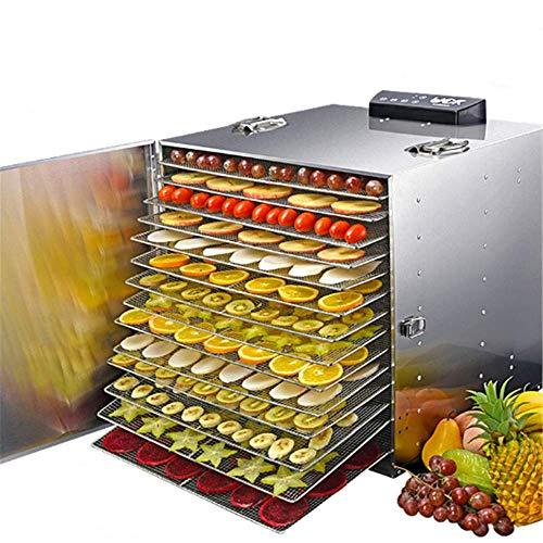 DiaoZhaTian Deshidratador de Alimentos, secador de Alimentos eléctrico de Acero Inoxidable, procesador Comercial de 10 Capas, temporización de 24 Horas, Control de Temperatura, 10 Rejillas,