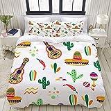 Conjunto de Funda nórdica, Vector de Patrones sin Fisuras Celebración Tradicional de México, Colorido Juego de Cama Decorativo de 3 Piezas con 2 Fundas de Almohada