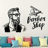 Ajcwhml Salon de Coiffure Homme Salon Coupe de Cheveux Mur fenêtre décalcomanie Autocollant Barbe Visage Outils Logo Salon Vinyle décalcomanie Hipster Salon de Coiffure décor 42x67cm