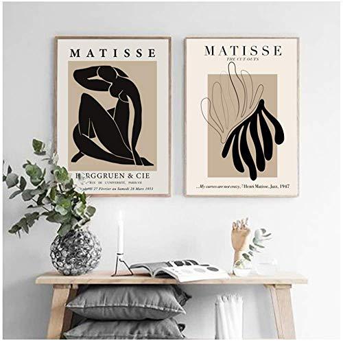 Drucke für Wände 2x60x80cm ohne Rahmen FLORID Henri Matisse Abstrakte Malerei Vintage Poster Beige Wandbilder Wohnkultur