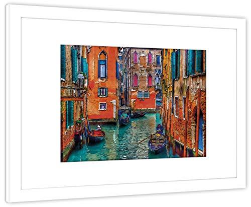 GaviaStore Art Prints - con Marco 70x50 cm - Cuadros Impresiones Pintura Cartel Foto Mueble Art hogar impresión decoración casa Sala Poster Cuadro Imagen Enmarcado Wall Art Picture (Venecia 2)