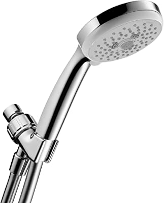 hansgrohe Croma 100 Handheld Shower Head Set Modern Spray Full, Pulsating Massage, Intense Turbo with QuickClean with Hose in Chrome, 2.5 GPM, 06425005