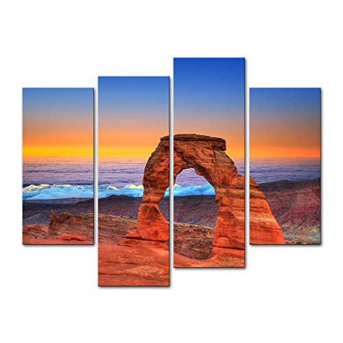 My Easy Art- Arches National Park Wall Art Decor Delicate Arches and Sea Under The Colorful Sky Canvas Pictures Artwork 4 Panel USA Canyon Landscape Painting Prints for Home Living Dining Room