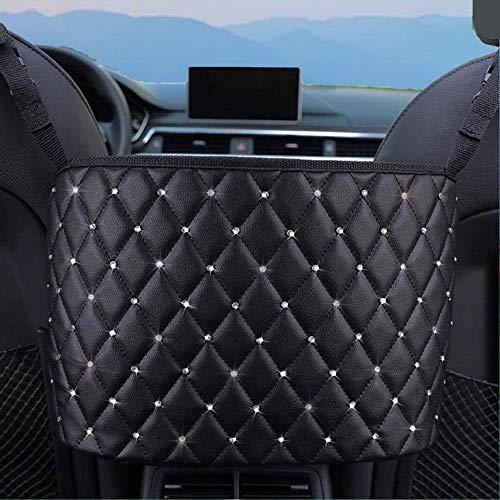 TWAYFEL Handbag Holder for Car, Seat Back Organizer PU Leather Pocket, Large Capacity Storage Bag for Purse, Barrier of Backseat Pet Kids, Bling Leather Handbag Holder Between The Two Seats of The Car