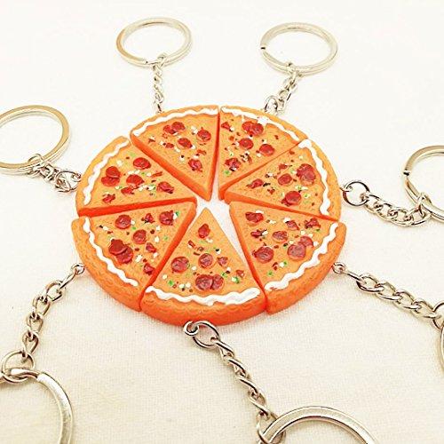 BIGBOBA - Portachiavi in resina con ciondolo a forma di pizza, utile per decorare borse, cellulari, per le chiavi dell'auto, piccolo regalo decorativo, 5 pezzi
