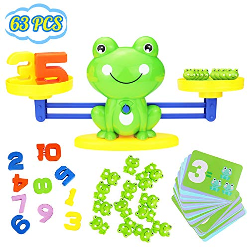 YITOOK Balance Math Game,Frog Balance Counting Toys for Boys & Girls Educational Number Toy Fun Childrens Gift STEM Learning Age 3+ (Green)